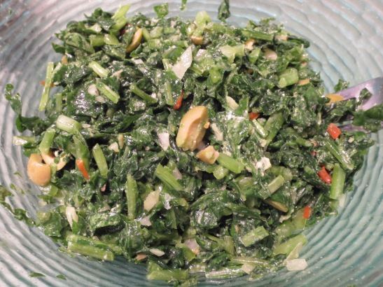 Homegrown massaged kale salad.