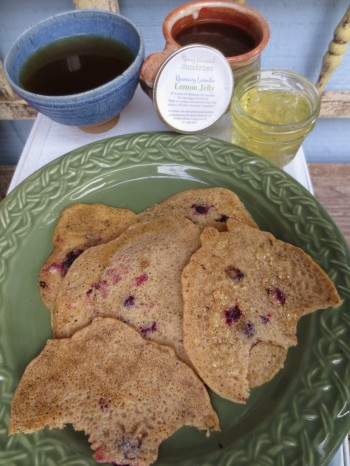 Sourdough blackberry pancakes with bartered-for homemade jam and nettle-mate-tulsi tea. A breakfast for farmers!